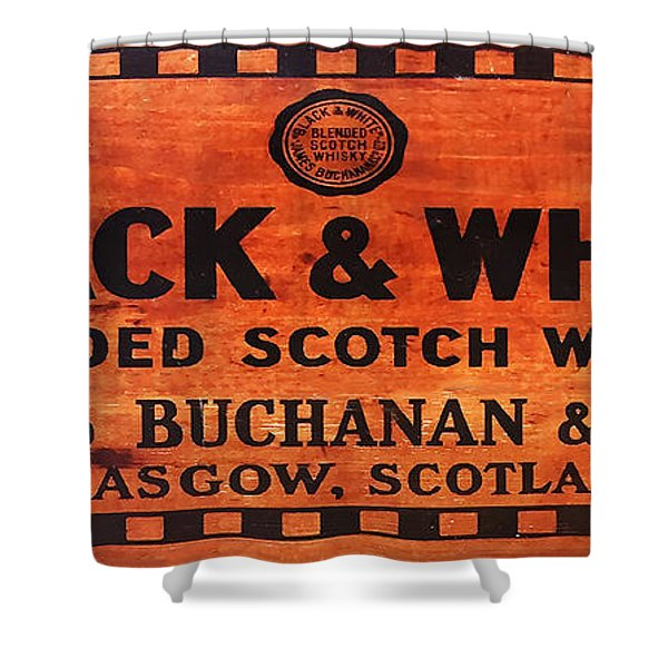 Black And White Scotch Whiskey Wood Sign Shower Curtain
