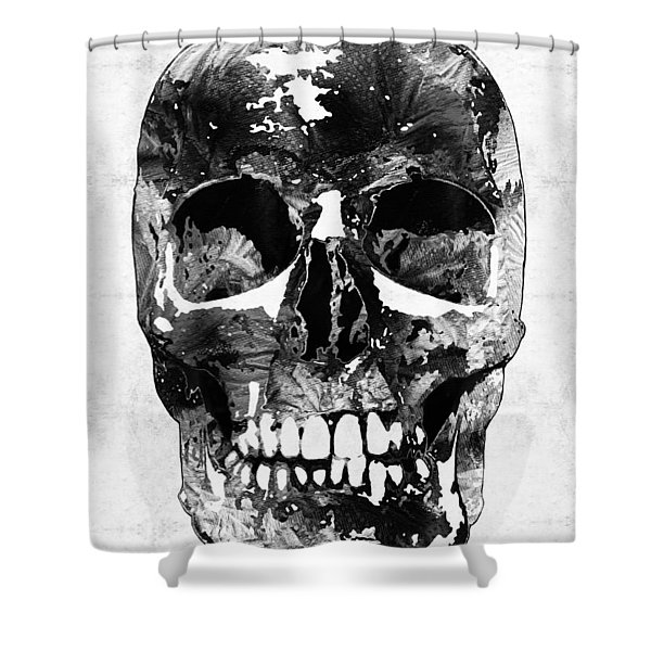Black And White Skull By Sharon Cummings Shower Curtain