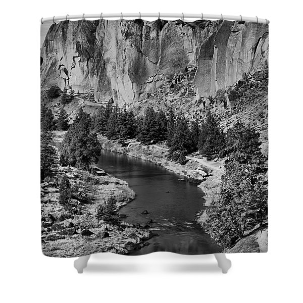 Black And White Smith Rock Portrait Shower Curtain