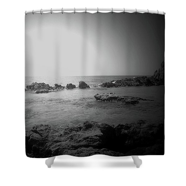 Black And White Sunset In Spain Shower Curtain