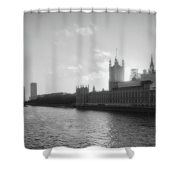 Black And White View Of Thames River And House Of Parlament From Shower Curtain