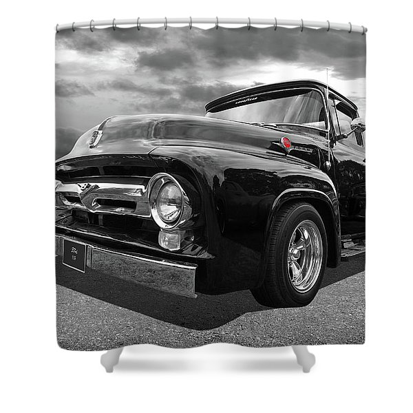 Black Beauty - 1956 Ford F100 Shower Curtain