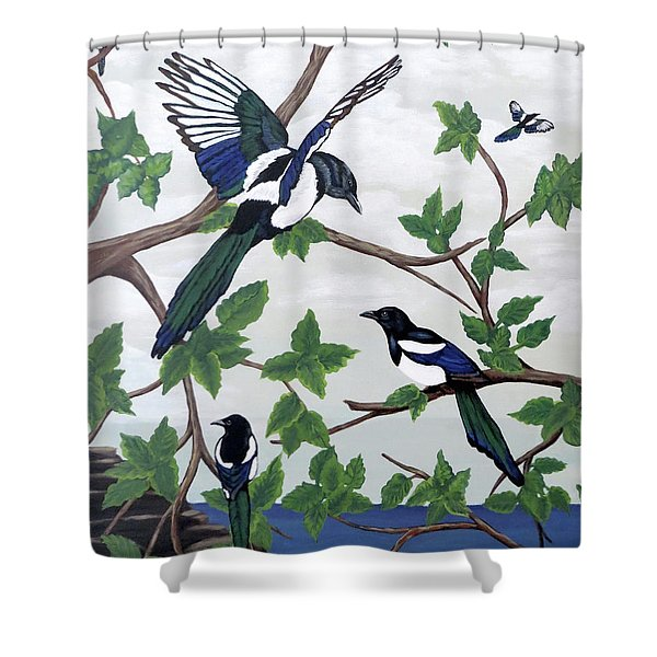 Black Billed Magpies Shower Curtain