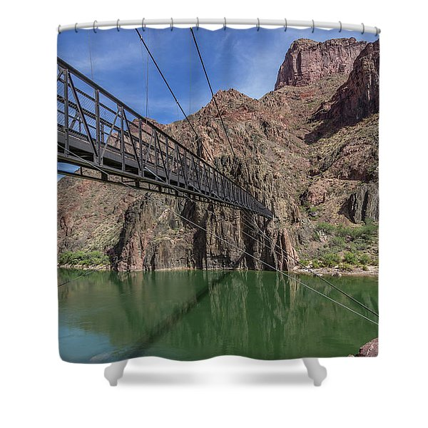 Black Bridge Over The Colorado River At Bottom Of Grand Canyon Shower Curtain