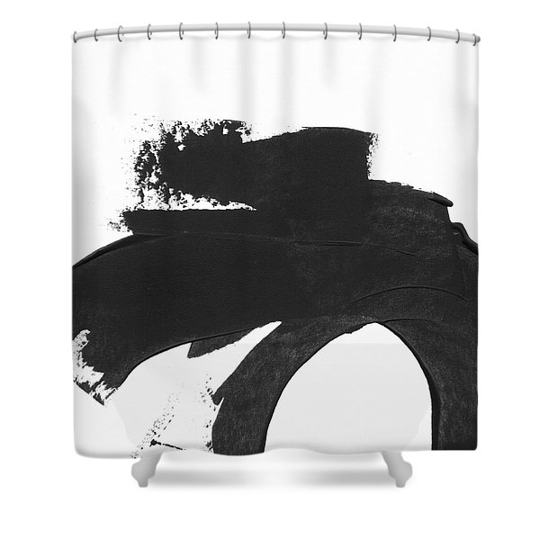 Black Brushstroke 4- Art By Linda Woods Shower Curtain