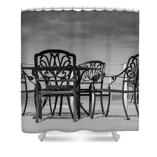 Black Cast Iron Seats Shower Curtain