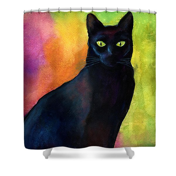 Black Cat 9 Watercolor Painting Shower Curtain