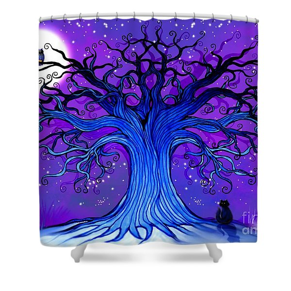 Black Cat And Night Owl Shower Curtain