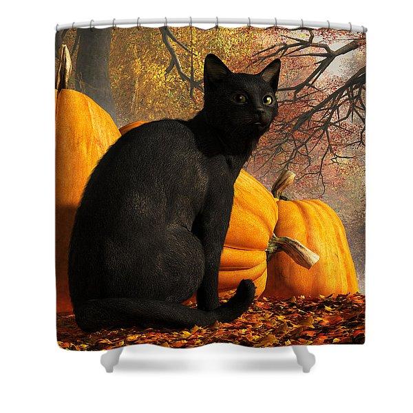 Black Cat At Halloween Shower Curtain