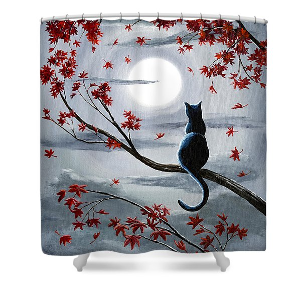 Black Cat In Silvery Moonlight Shower Curtain
