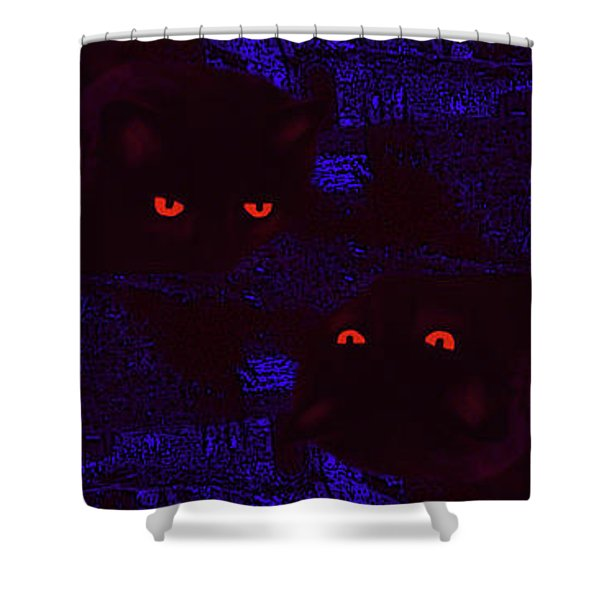 Black Cat Under A Blood Red Moon Shower Curtain