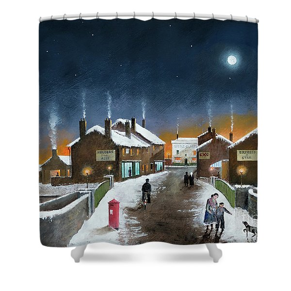 Black Country Winter Shower Curtain