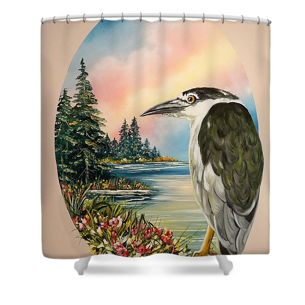 Flying Lamb Productions                     Black Crowned Heron Shower Curtain