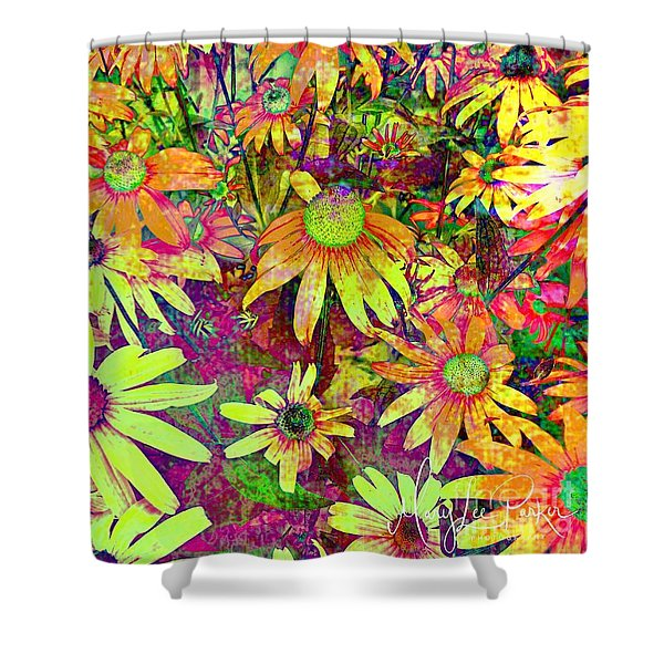 Black-eyed Susan   Abstract  Shower Curtain