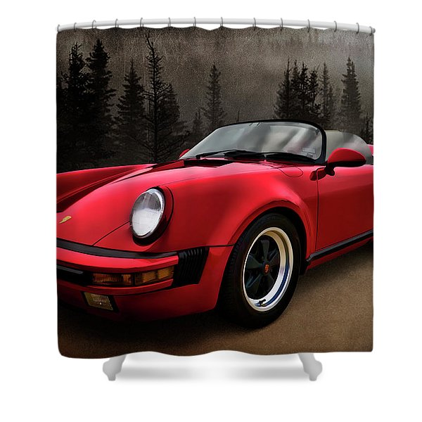 Black Forest - Red Speedster Shower Curtain by Douglas Pittman