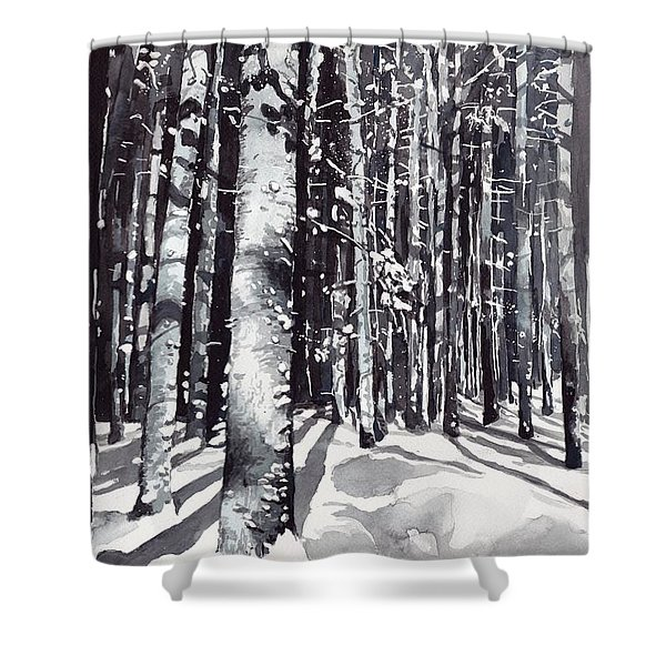 Black Forest Watercolor Shower Curtain