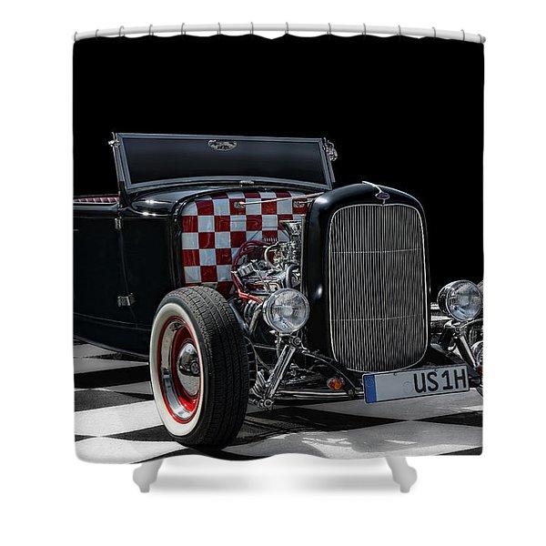 Black Hot Rod Shower Curtain