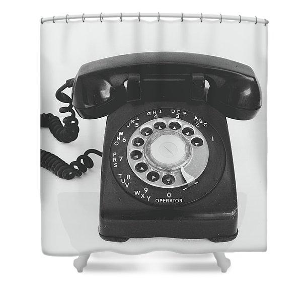 Black Landline Phone- Art By Linda Woods Shower Curtain
