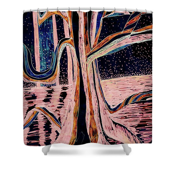 Black-peach Moonlight River Tree Shower Curtain