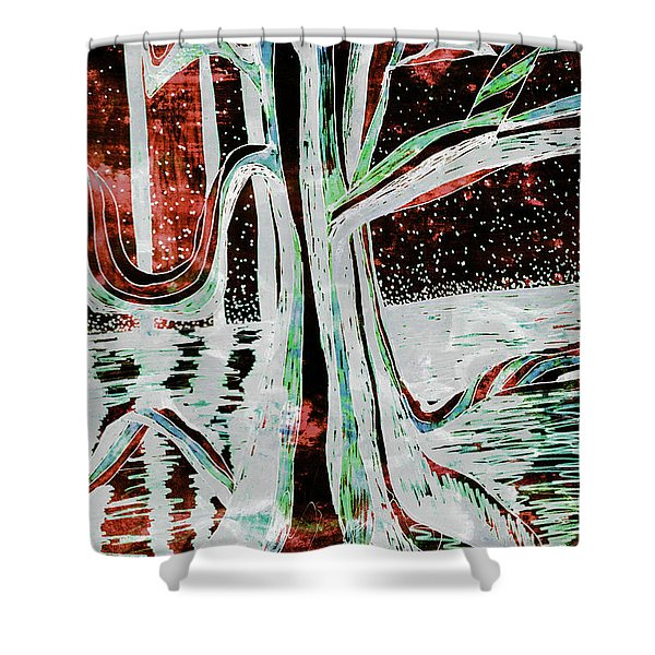 Black-red Moonlight River Tree Shower Curtain