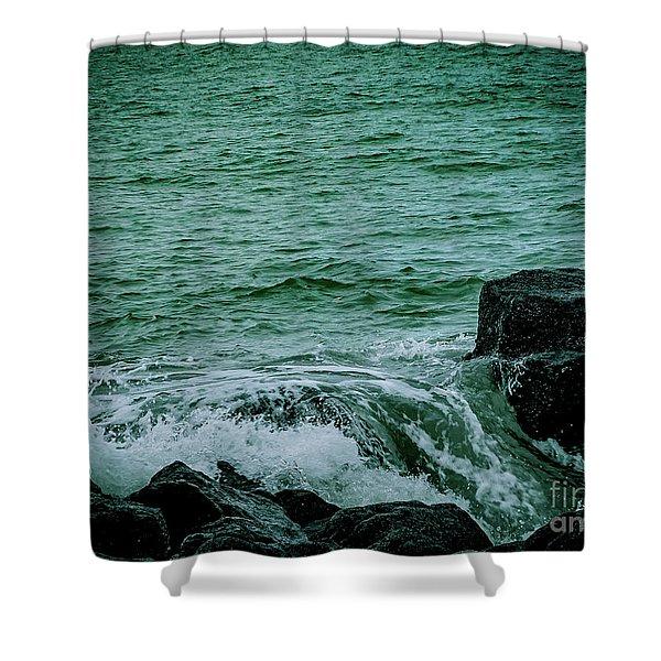 Black Rocks Seascape Shower Curtain