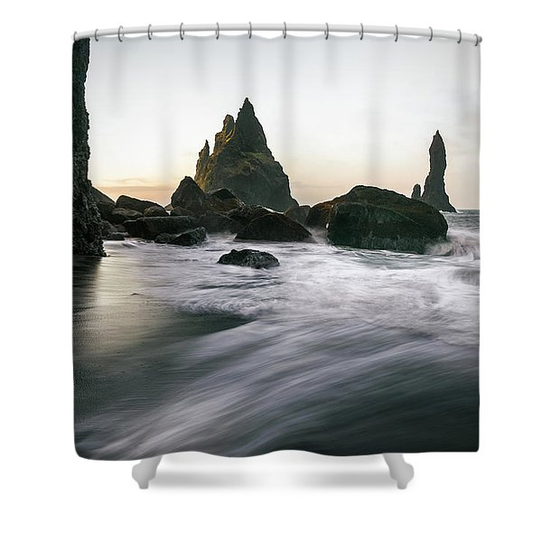 Black Sand Beach In Iceland Shower Curtain