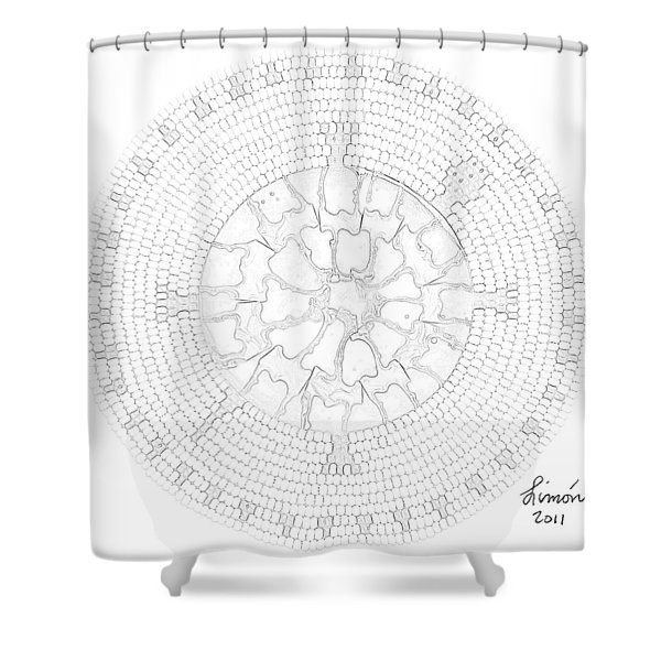 Black Shell Turtle Shower Curtain