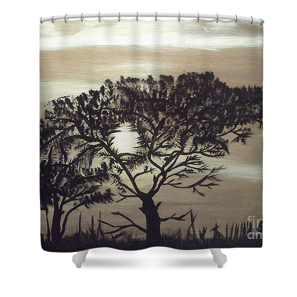 Black Silhouette Tree Shower Curtain