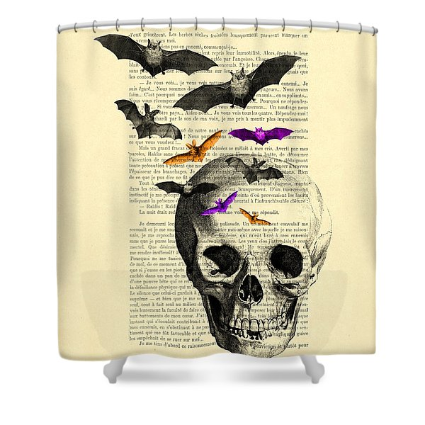 Black Skull And Bats On A Dictionary Page Shower Curtain