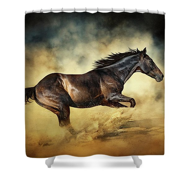 Black Stallion Horse Galloping Like A Devil Shower Curtain