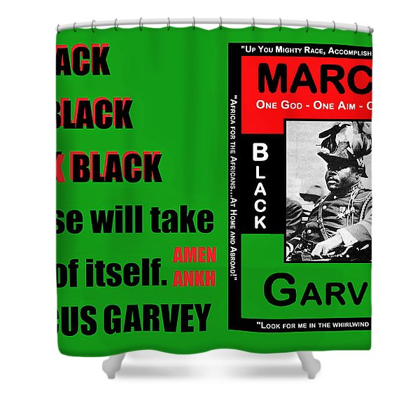 Black Star Garvey Shower Curtain