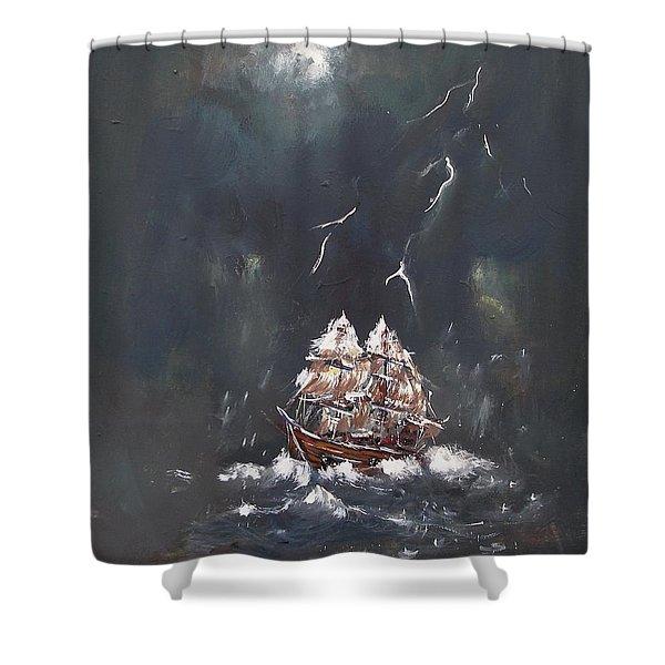 Black Storm Shower Curtain