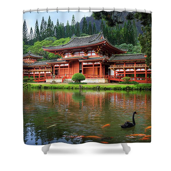 Black Swans At Byodo-in Shower Curtain