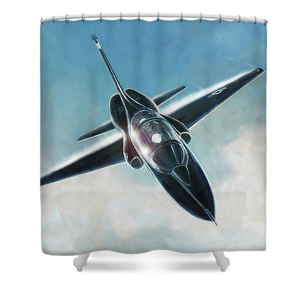 Black T-38 Shower Curtain