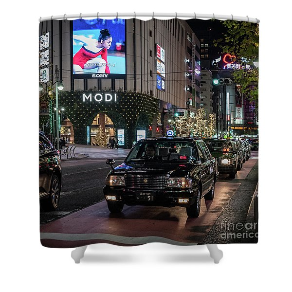 Black Taxi In Tokyo, Japan Shower Curtain