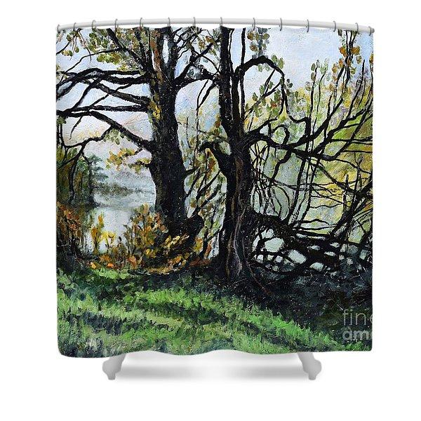 Black Trees Entanglement Shower Curtain