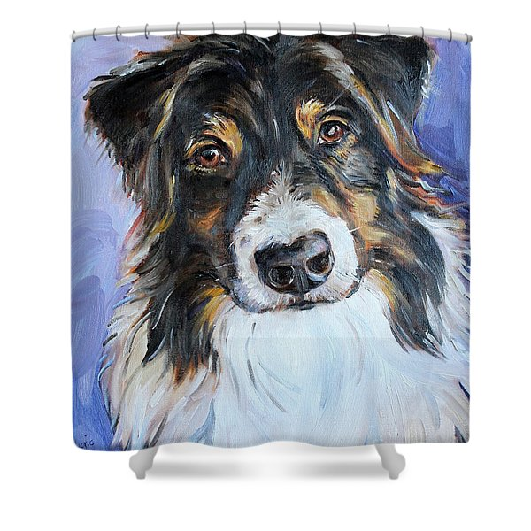 Black Tri Australian Shepherd Shower Curtain