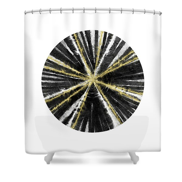 Black, White And Gold Ball- Art By Linda Woods Shower Curtain