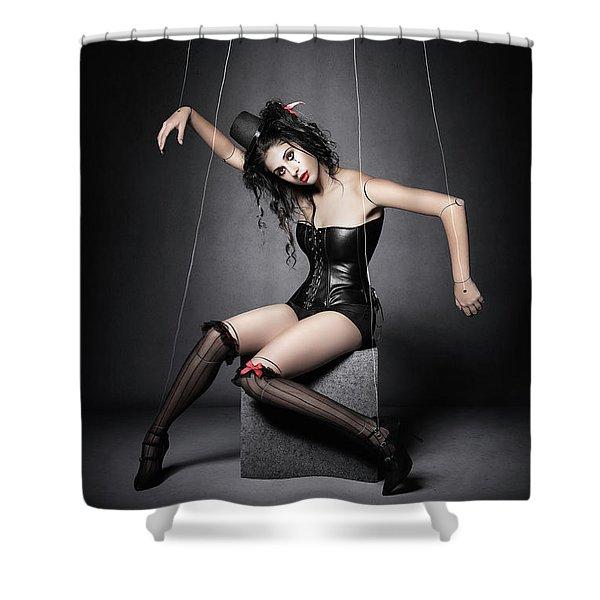 Black Widow Marionette Puppet  Shower Curtain