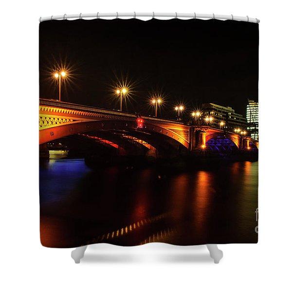 Blackfriars Bridge Illuminated In Orange Shower Curtain