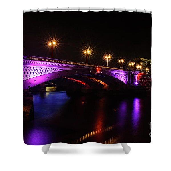 Blackfriars Bridge Illuminated In Purple Shower Curtain