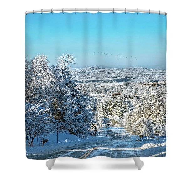 Blacksburg Elegant Country Snow Near Virginia Tech Shower Curtain