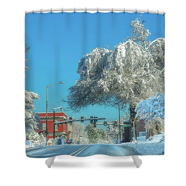 Blacksburg Virginia Main Street Sunday Snow 1 Shower Curtain