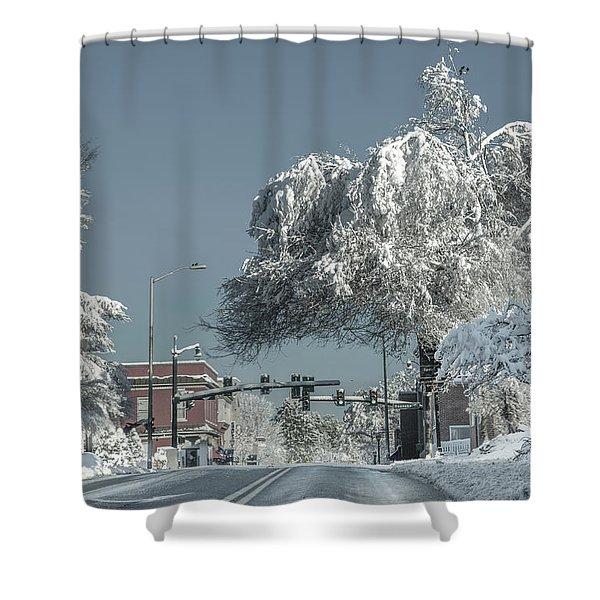 Blacksburg Virginia Main Street Sunday Snow 2 Shower Curtain