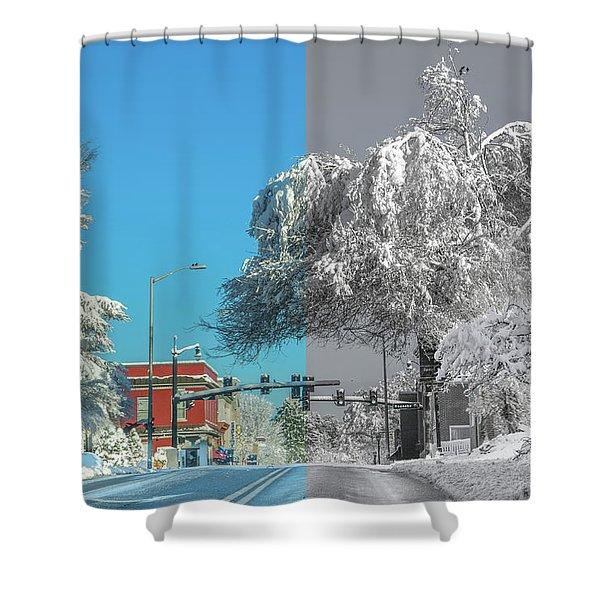 Blacksburg Virginia Main Street Sunday Snow 3 Shower Curtain