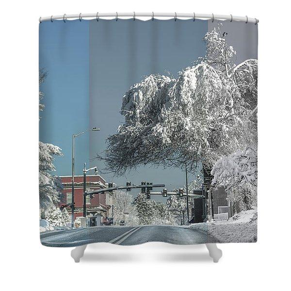 Blacksburg Virginia Main Street Sunday Snow 4 Shower Curtain