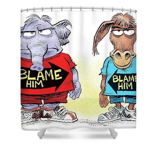 Blame Him Shower Curtain