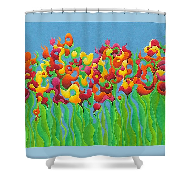 Blazing Blossom Bash Shower Curtain