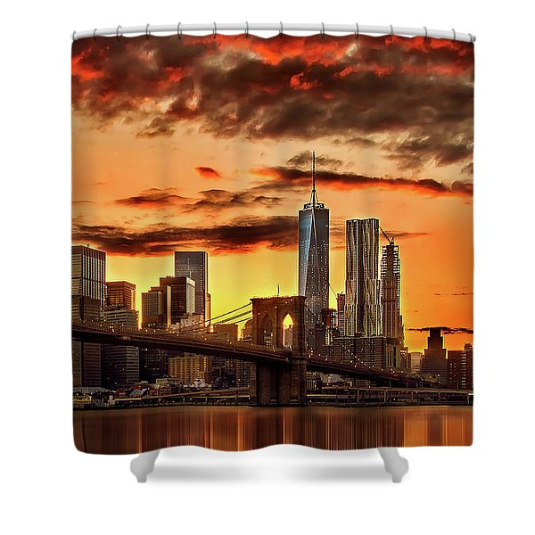 Blazing Manhattan Skyline Shower Curtain