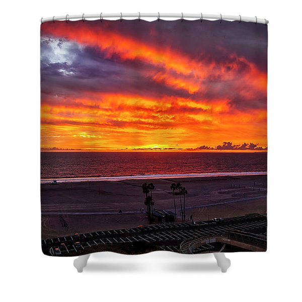 Blazing Sunset Over Malibu Shower Curtain